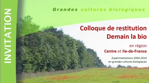 Colloques grandes cultures bio Ile-de-France - Centre